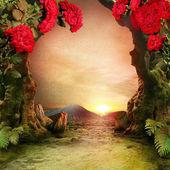 Romantic garden landscape — Stock Photo