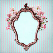 Shabby Chic Background with antique frame — Stock Photo
