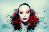 Beautiful woman, Artwork with ink in grunge style — Stock Photo