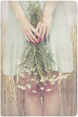Woman holding marguerite flowers — Stock Photo