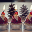 Papa Noel Christmas candles — Stock Photo