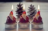 Papa Noel Christmas candles — Stock Photo