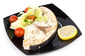Studio closeup of grilled swordfish fillets — Stock Photo