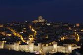 Walled city at night. Ávila. Spain — Stock Photo