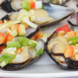 Stock Photo: Dish with steamed mussels