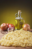 Still life with essential ingredients of the Mediterranean diet — Stock Photo