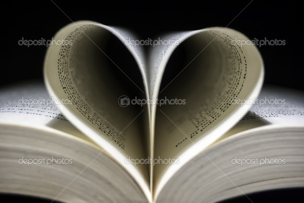 Open Book With Folded Leaves Heart-shaped