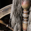 Old distaff with a yarn — Stock Photo