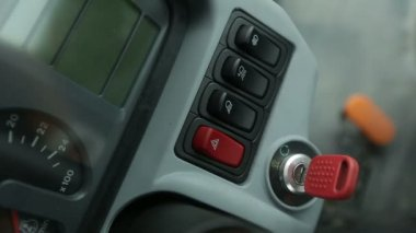 Turning on tractor dashboard — Stock Video