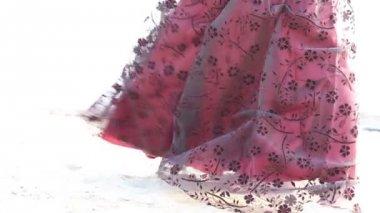 Woman in burgundy dress — Stock Video