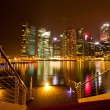 Singapore in the night time with water reflections. — Stock Photo