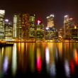 A view of Singapore in the night time with water reflections. — Stock Photo