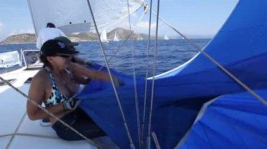"""Sailors participate in sailing regatta """"Sail & Fun Trophy 2012"""" — Stock Video"""