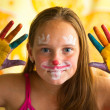 Portrait little girl - hand painted child — Stock Photo #12432793