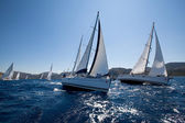 Boats Competitors During of sailing regatta Sail & Fun Trophy — Stock Photo
