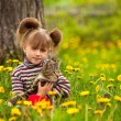 Little girl playing with a cat in the park — Stock fotografie #12583000