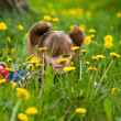 Little five-year girl lying in grass — Stock Photo #12583034