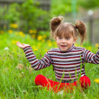 Surprise! - Little five-year girl game in grass. — Stock Photo