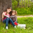 Children reading the book in summer park — Stock Photo #12583148