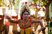 Young girl performs a classic national Balinese dance Barong — Stok fotoğraf