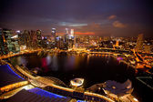 A view of city from roof Marina Bay Hotel in night — Stock Photo