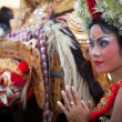Young girl during a classic national Balinese dance Barong — Stock Photo