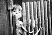Beautiful child standing near vintage rural fence — Stock Photo