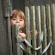 Beautiful child standing near vintage rural fence. — Foto de Stock