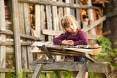 Lovely child in farm. — Stock Photo