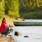 Teen-girl near the river in summer. — Stock Photo