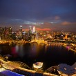 A view of Singapore from roof Marina Bay hotel, in the night time — Stock Photo