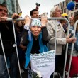 A old woman takes part in an anti-Putin protest in central in Moscow - Stock Photo