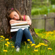 Tired school girl in the park — Stock Photo #13123097