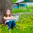 Tired young girl in the park with books. — Stock Photo #13123111
