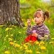 Little five-year girl blowing soap bubbles in the park — Stock Photo