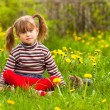 Funny lovely little girl playing in the park — Stock Photo #13123183