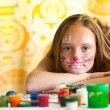 Portrait of young girl with paint of face. — Stock Photo