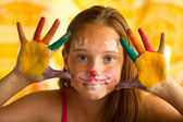 Hand Painted Child, portrait little girl — Stock Photo