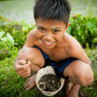 Poor kid catches small fish in a ditch near a rice field — Foto Stock