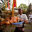 Melasti Ritual is performed before Nyepi - Stock Photo