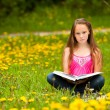 Foto Stock: Little girl reads a book in the meadow