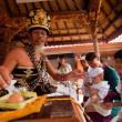 BALI, INDONESIA - MARCH 28: Unidentified child during the ceremonies of Oton - is the first ceremony for baby's on which the infant is allowed to touch the ground on March 28, 2012 on Bali, Indon — Foto de Stock