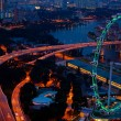 Stock Photo: Aerial view on Singapore Flyer from Marina Bay Sands resort at night