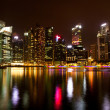 Stock Photo: Singapore business district in the night time with water reflections.