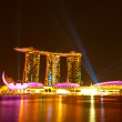 SINGAPORE - APRIL 15: Marina Bay Sands Hotel in night on April 15, 2012 on Singapore. This hotel is billed as the world's most expensive — Stock Photo
