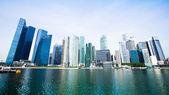Wide Panorama of Downtown Skyline Singapore — Stock Photo