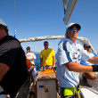 "SARONIC GULF,  GREECE - SEPTEMBER 23: Sailors participate in sailing regatta ""Viva Greece 2012"" on September 23, 2012 on Saronic Gulf, Greece. — Photo"