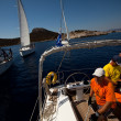 "SARONIC GULF,  GREECE - SEPTEMBER 23: Sailors participate in sailing regatta ""Viva Greece 2012"" on September 23, 2012 on Saronic Gulf, Greece. — Стоковая фотография"