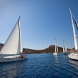 "SARONIC GULF,  GREECE - SEPTEMBER 23: Boats Competitors During of sailing regatta ""Viva Greece 2012"" on September 23, 2012 on Saronic Gulf,  Greece. — Stockfoto"