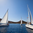 "SARONIC GULF,  GREECE - SEPTEMBER 23: Boats Competitors During of sailing regatta ""Viva Greece 2012"" on September 23, 2012 on Saronic Gulf,  Greece. — Stock Photo"